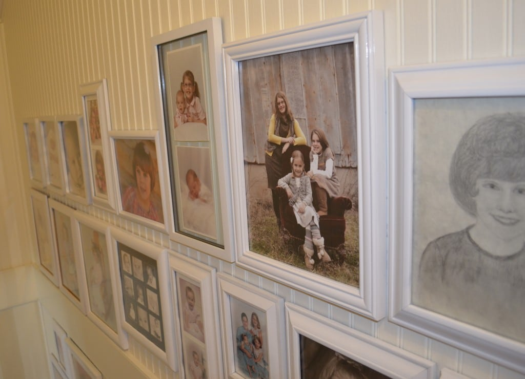 photo gallery wall in stairway