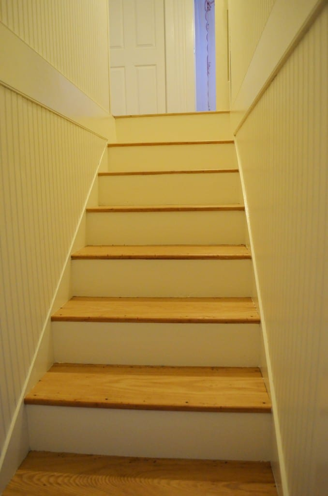 stair treads refinished and fronts painted