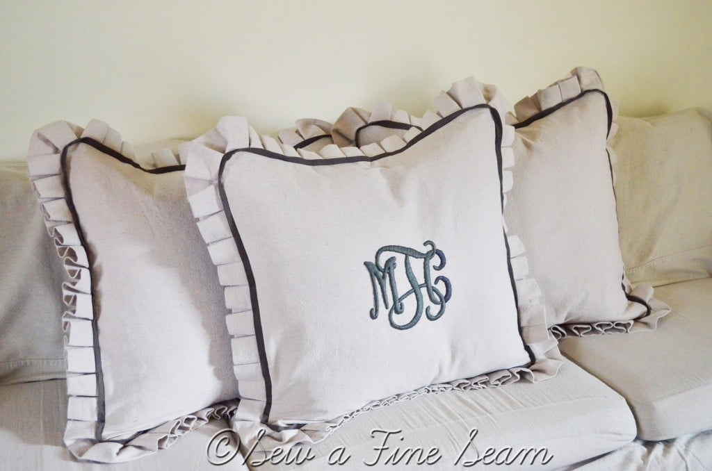 with store monogrammed pillow piping