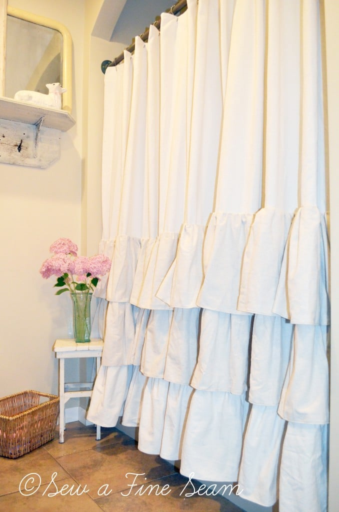 ruffled shower curtain sew a fine seam