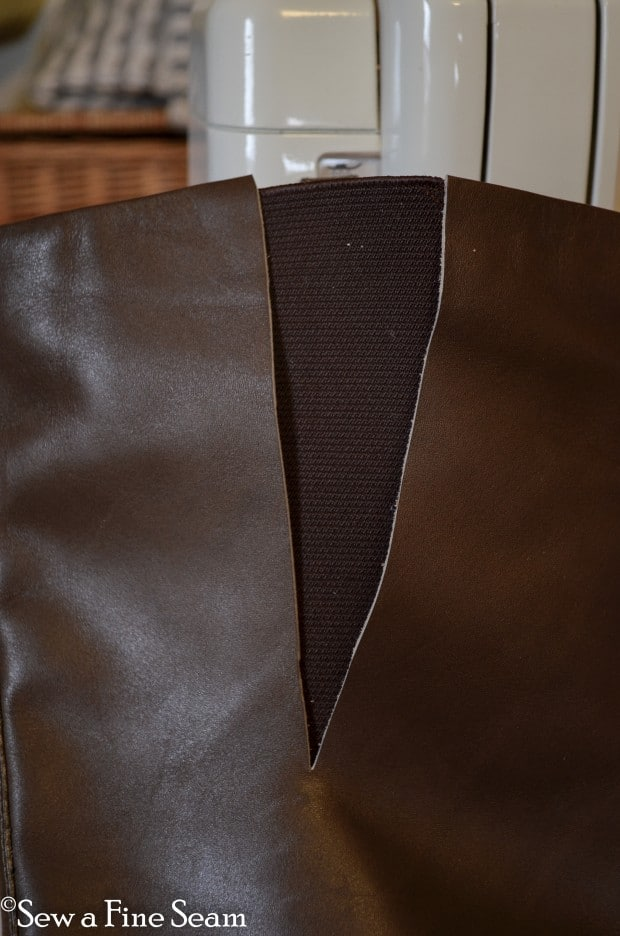 adding elastic gusseting to tall boots