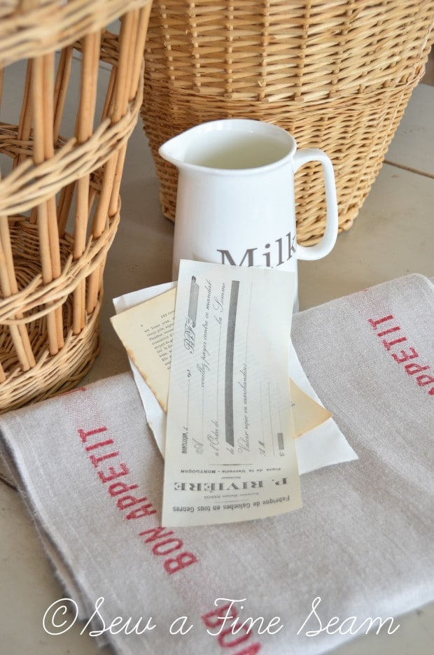 french linen baskets and milk pitcher-1