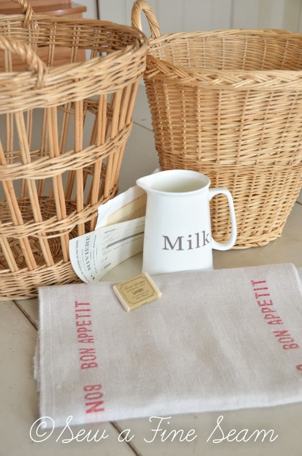 french linen baskets and milk pitcher-3