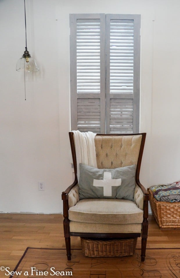 vintage shutters as window treatments