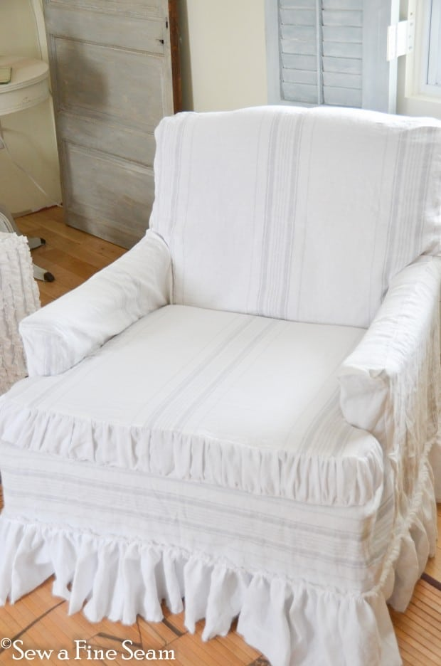 slipcovered sofa and chair-8