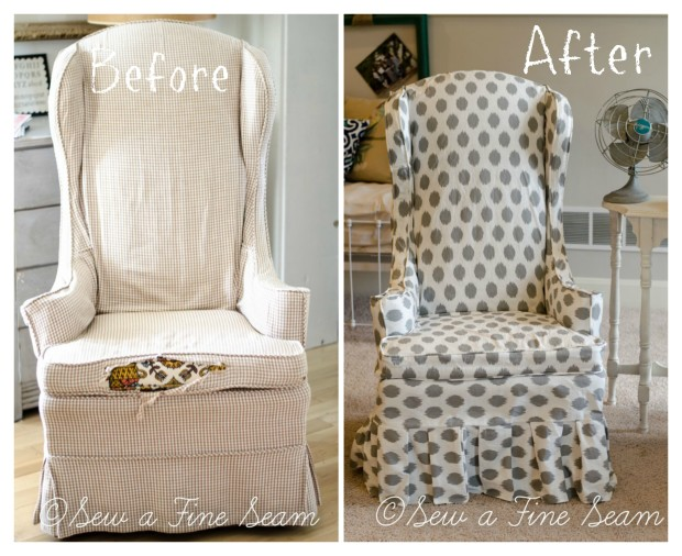 before and after - dot slipcovered chairs