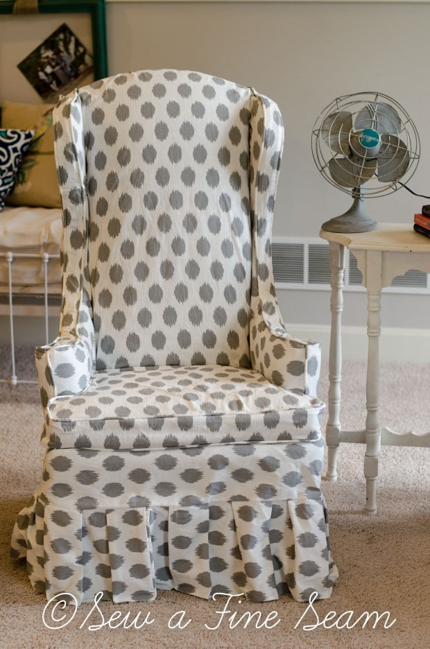 white and grey dot slipcovered chairs (1 of 5)