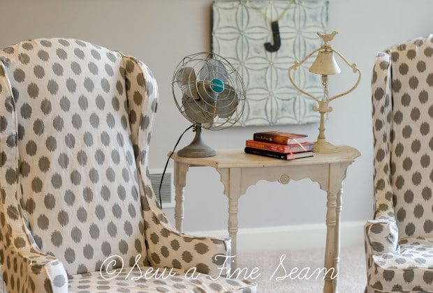 white and grey dot slipcovered chairs (2 of 5)