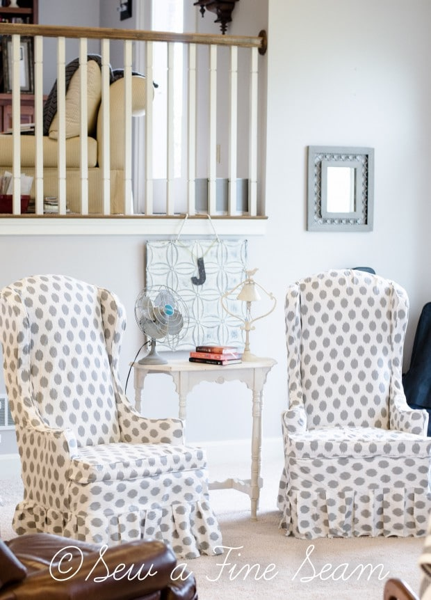 white and grey dot slipcovered chairs (4 of 5)