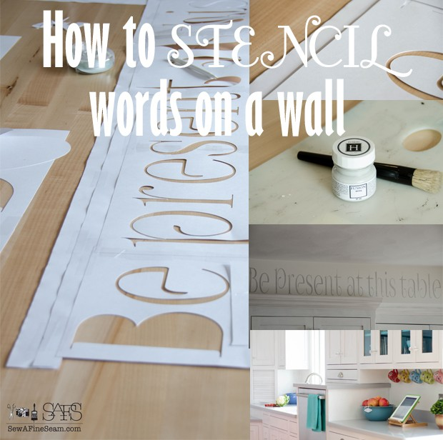 how to stencil words on a wall