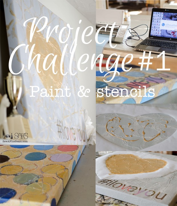project challenge using paint and stencils - Valentine's decor