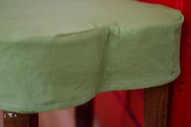 flower shaped ottoman slipcovered green side
