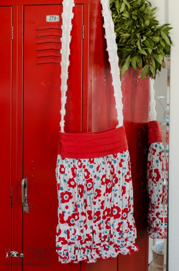 Thrifted skirt turned handbag project challenge