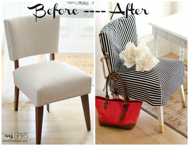 DIY before and after chair slip cover - with tutorial