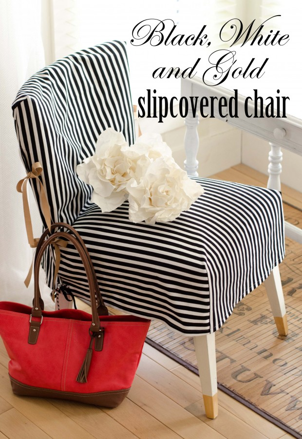 black and white and gold slipcovered chair-1 copy