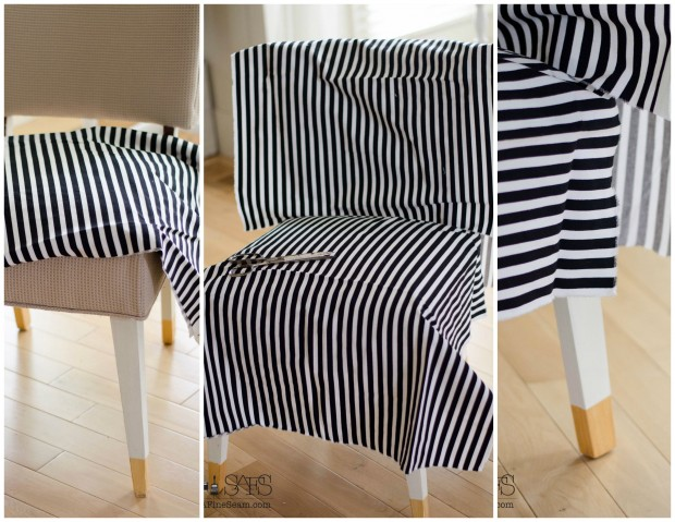 black and white draping fabric for a slipcover