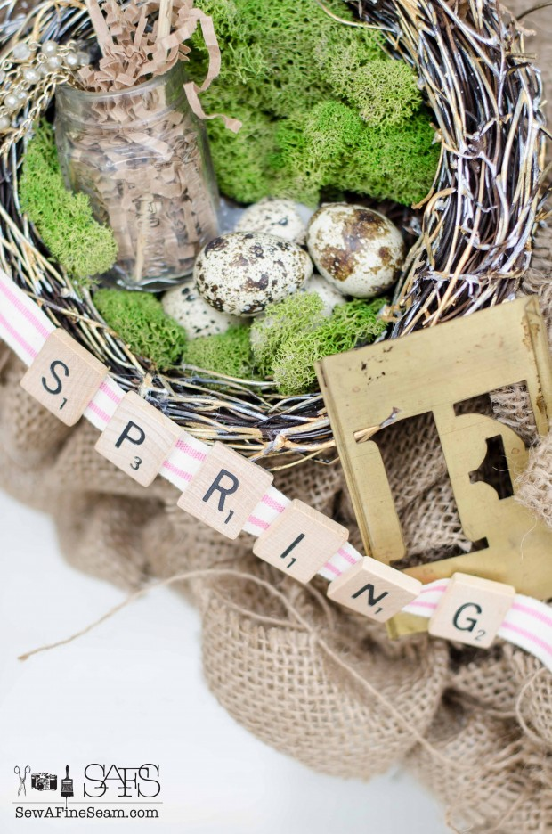 burlap spring wreath upcycle for spring