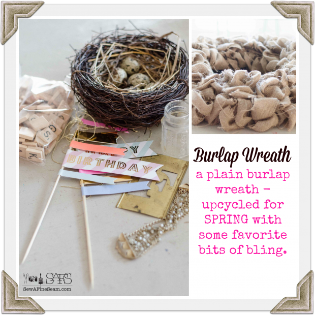 burlap spring wreath upcycle for spring diy craft for pennies