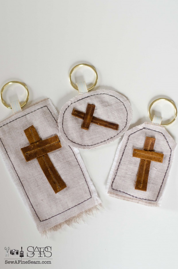 linen and leather craft project DIY handmade easter wall hanging and key chain