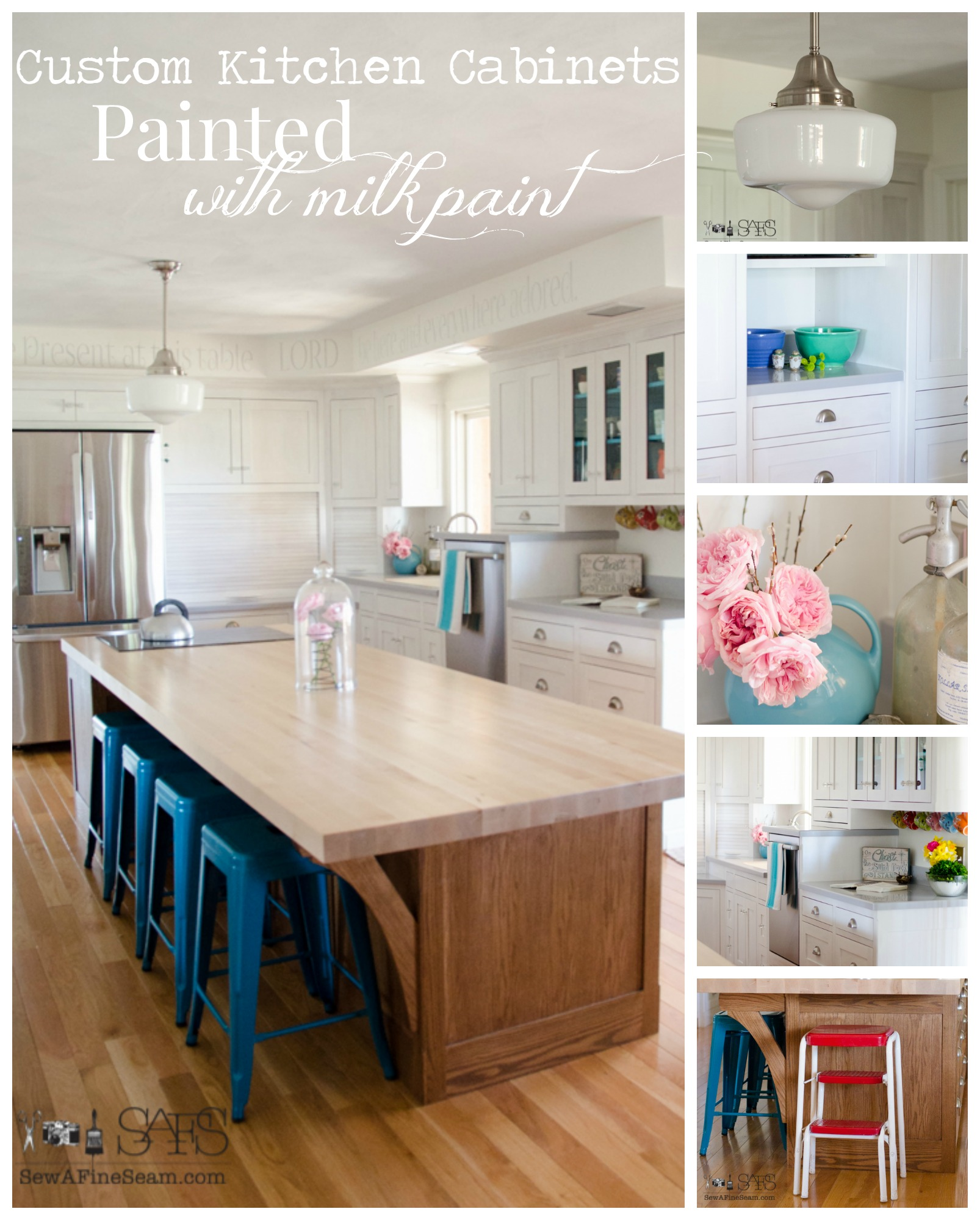 Lovely milk paint on custom kitchen cabinets