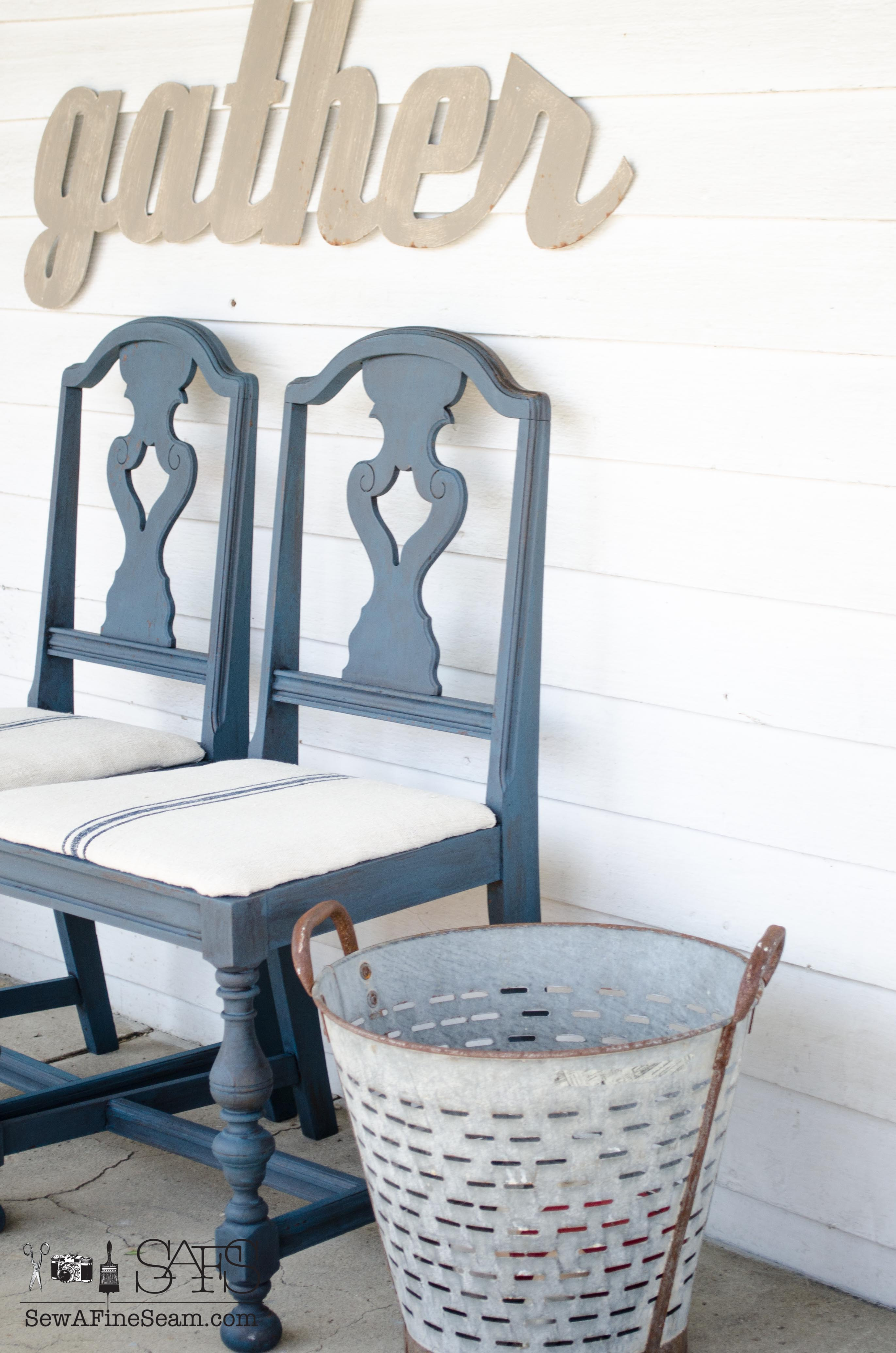 Milk Paint And Grain Sack Dining Room Chair Makeover DIY With Glaze