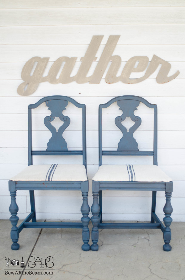 milk paint and grain sack dining room chair DIY makeover