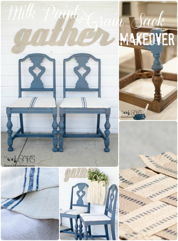 milk paint and grain sack chair makeover
