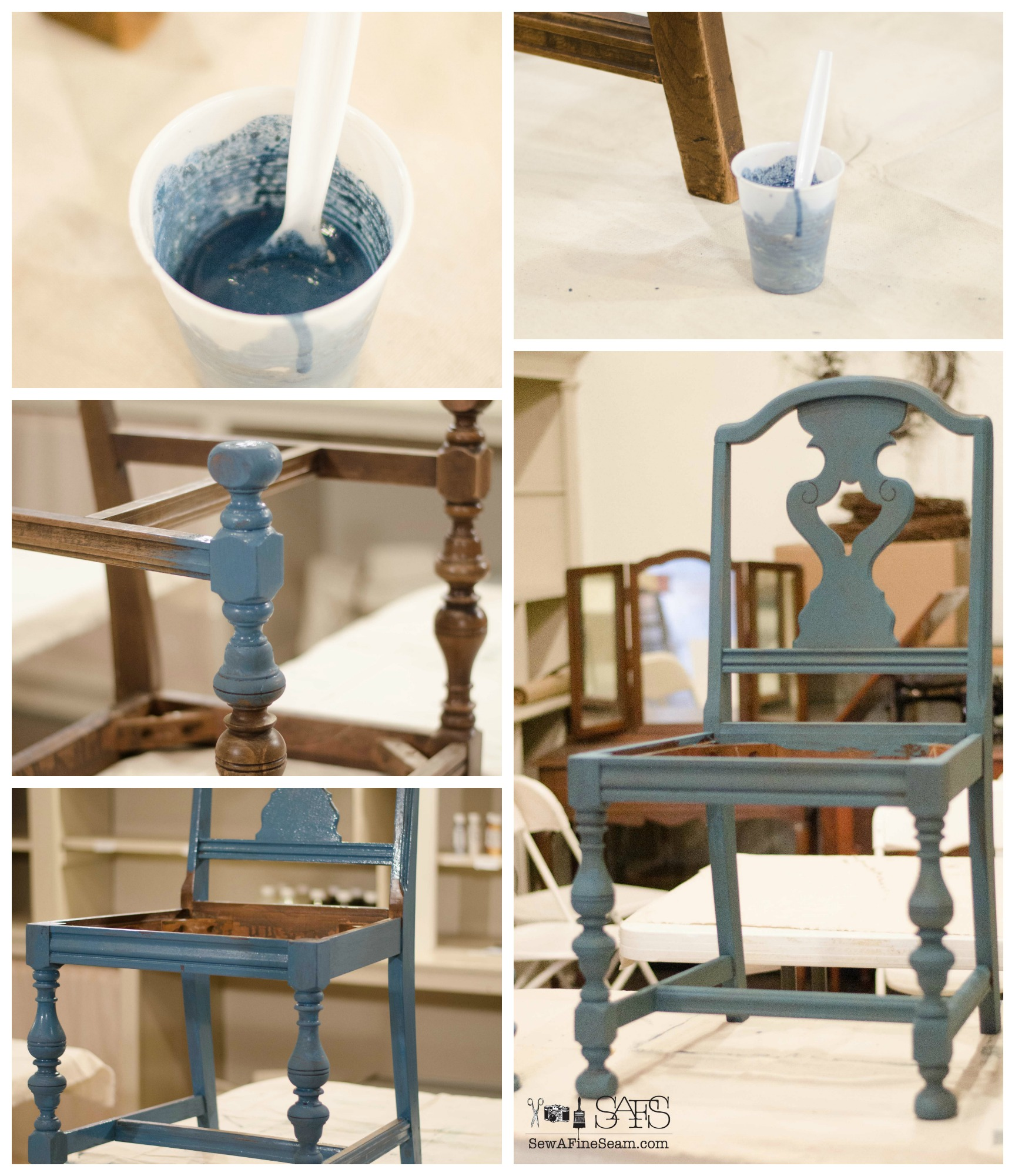 Milk Paint And Grain Sack Dining Room Chair Makeover DIY With Milk Paint  And Glaze And