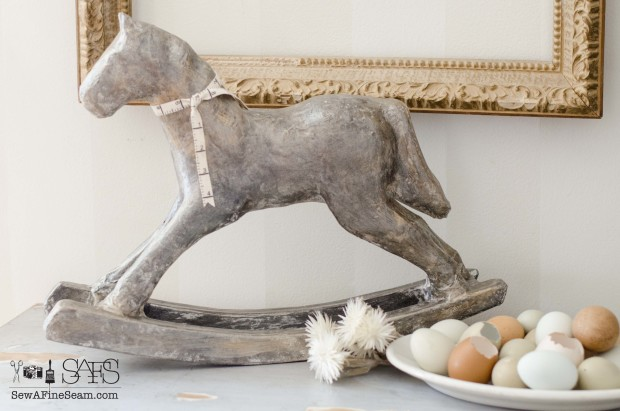 rocking horsemakeover with Paint Couture paint, glaze, and metallic DIY