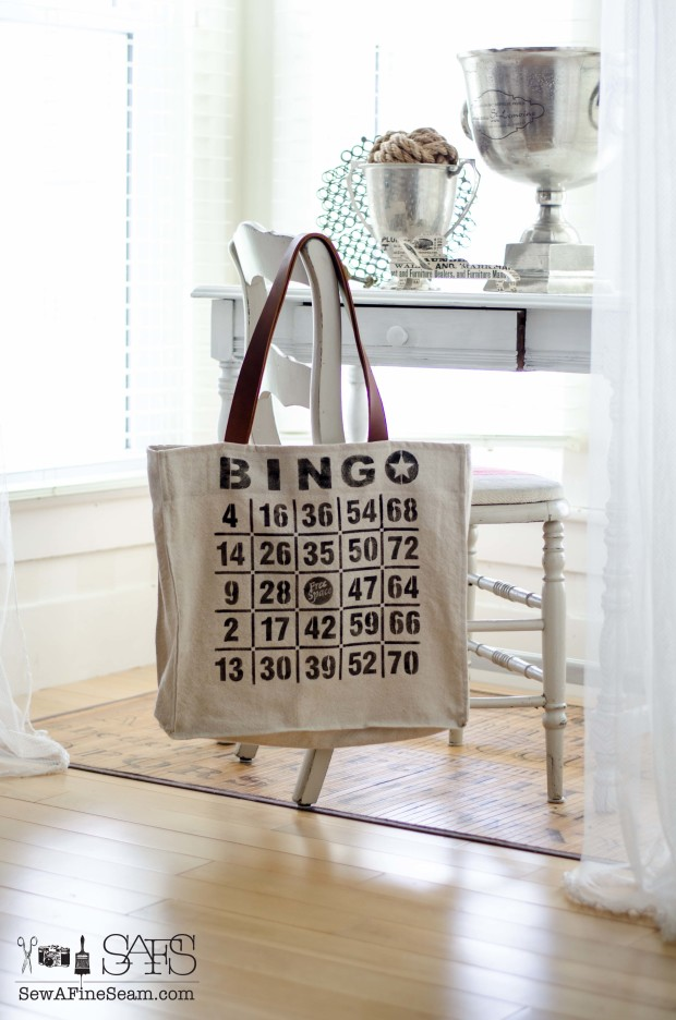 Bingo stenciled handbag with leather handles.  Stencil from Funky Junk Interiors and bag made by Sew a Fine Seam