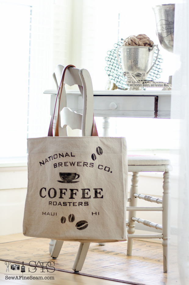 national coffee brewers stenciled bag