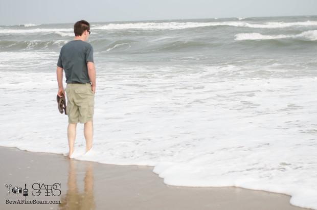 my man at the beach