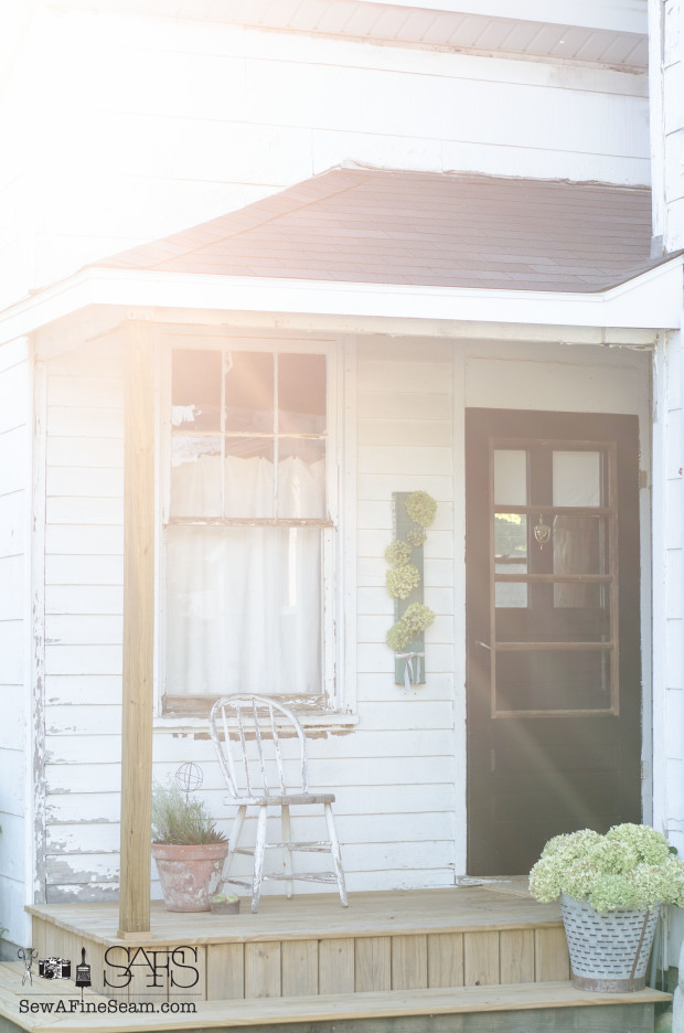 porch makeover with sunrays
