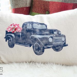 Vintage Truck Pillow with fabric flowers