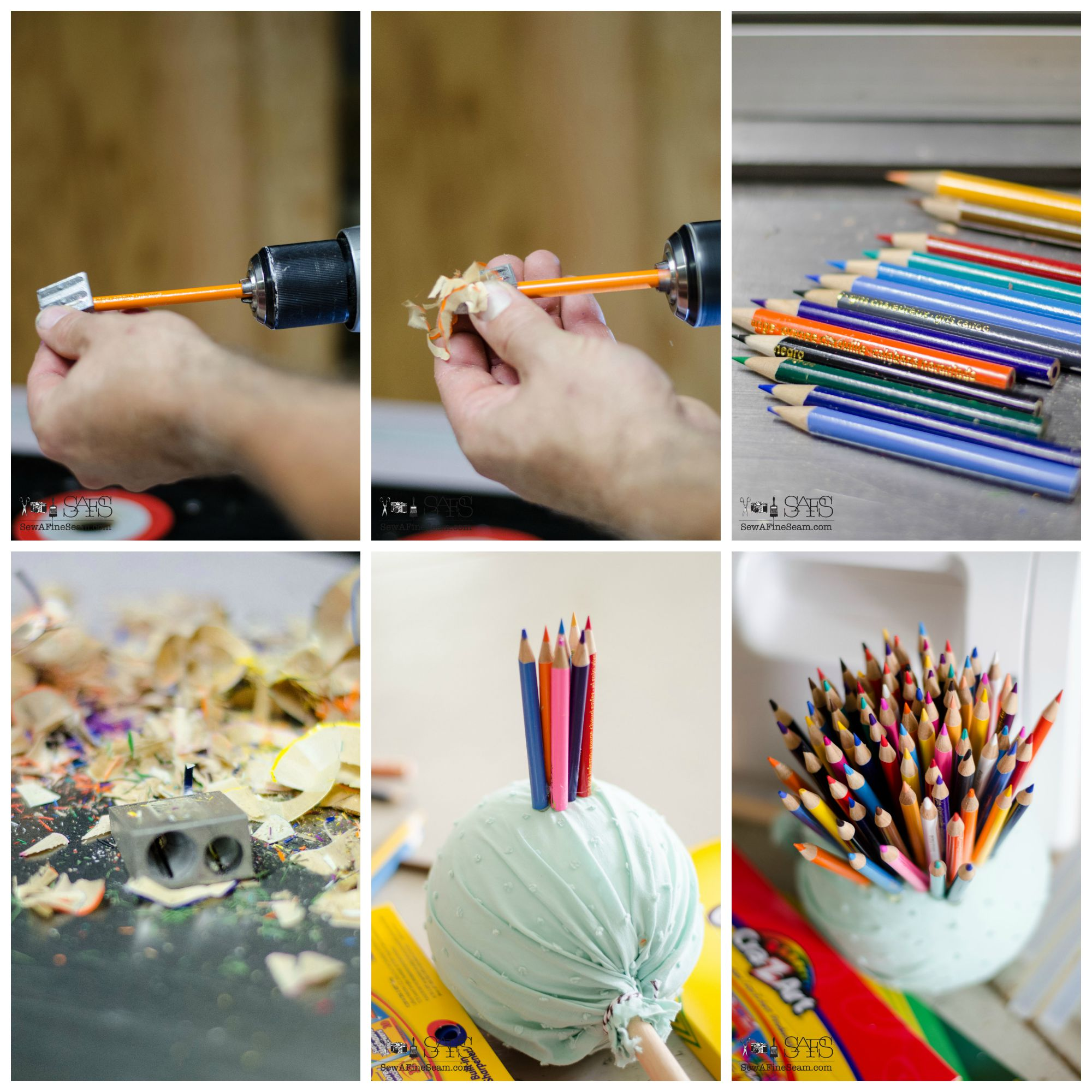 Colored pencil craft flower made of colored pencils and planted in a