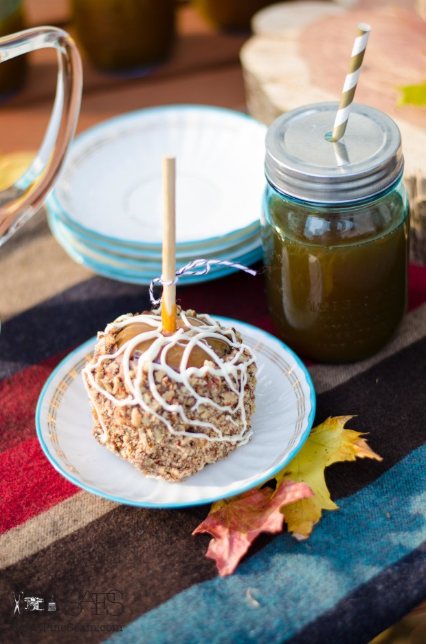 Deluxe caramel apple from Winans and fresh pressed apple cider