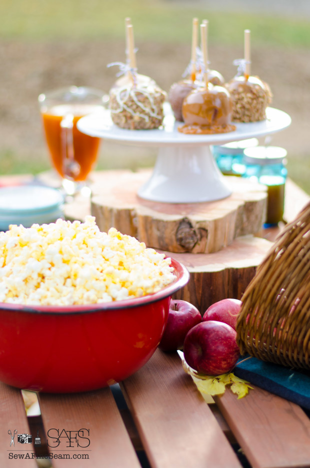 Fall picnic- popcorn and apples