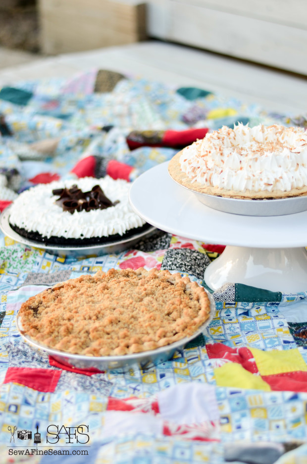 Dutch apple coconut cream and chocolate silk pie from marie callender