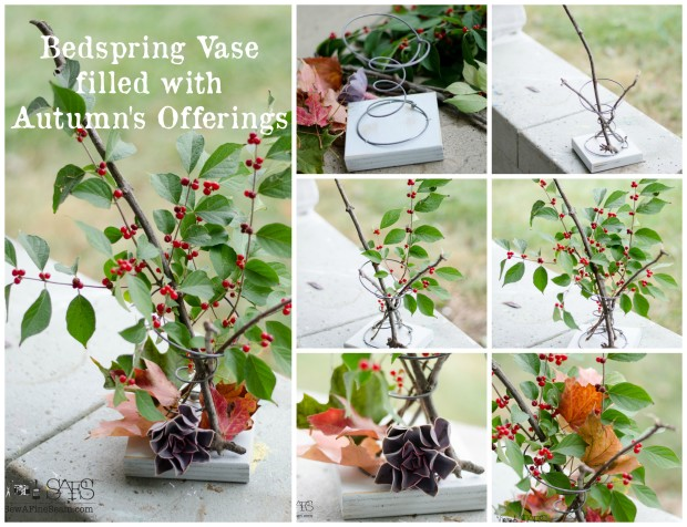bedspring vase filled with autumns offerings - sticks and leaves from the yard for decor