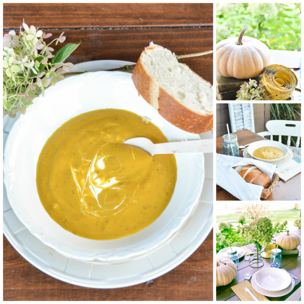 dining table on the front porch, pumpkin soup and bread to eat