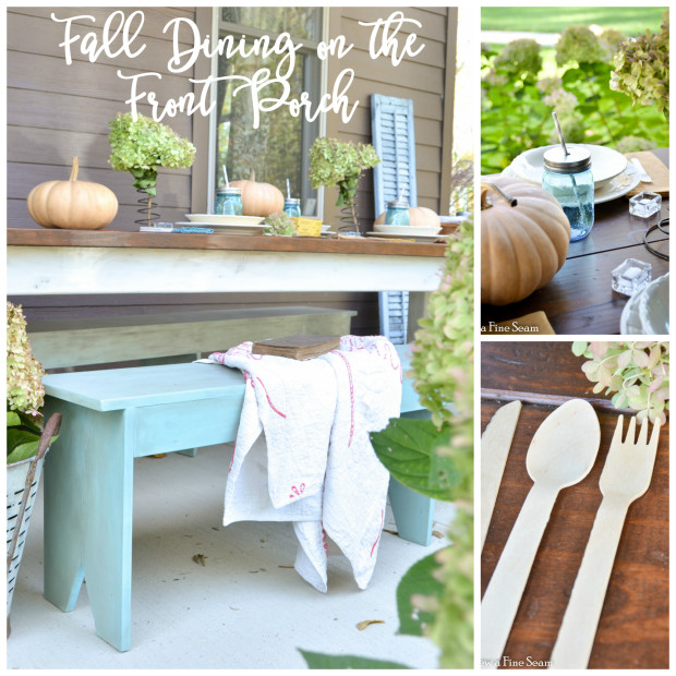 fall dining on the front porch