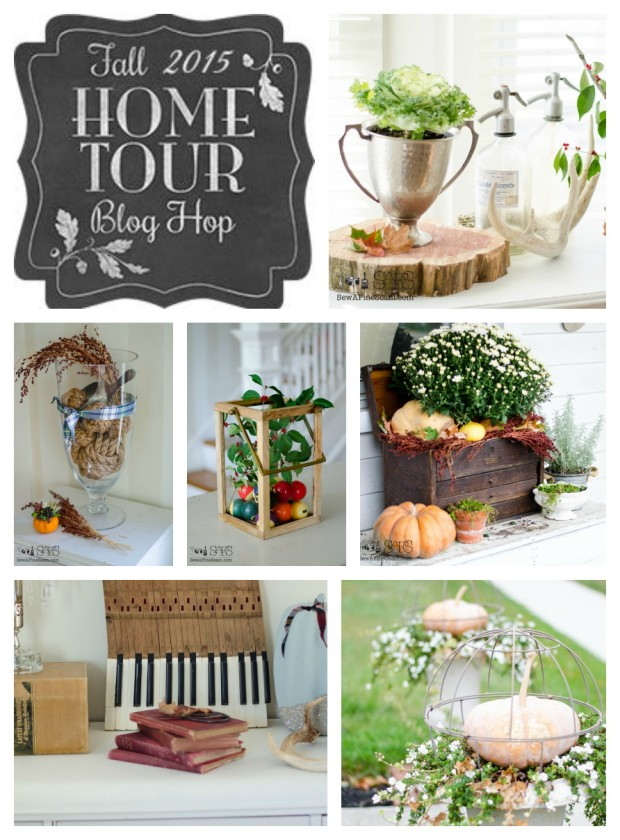 fall home tour 2015 - pumpkins, mums, leaves, broom corn, plants