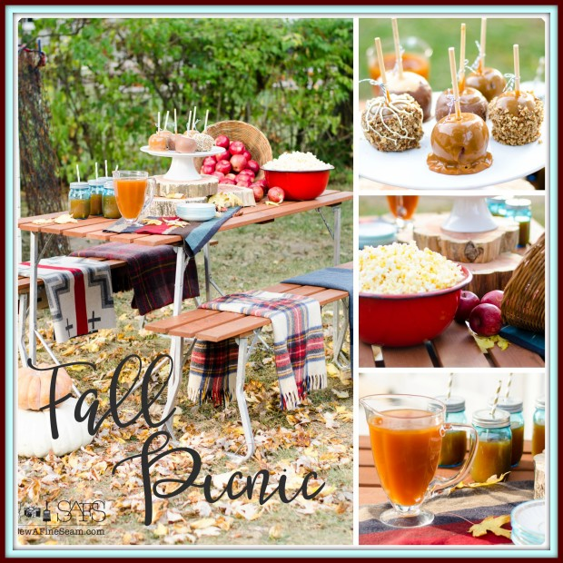 Fall picnic- plaid blankets to sit on and apples, caramel, popcorn for snacking
