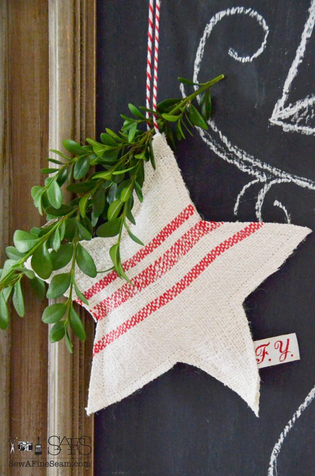 Grain Sack star Christmas ornaments