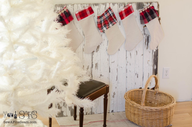 stockings hung on an old barn door instead of a 'mantel'