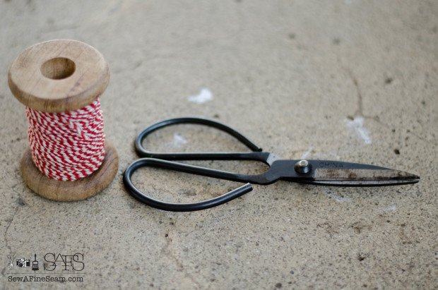 bakers twine and scissors - tools to use to create christmas decor