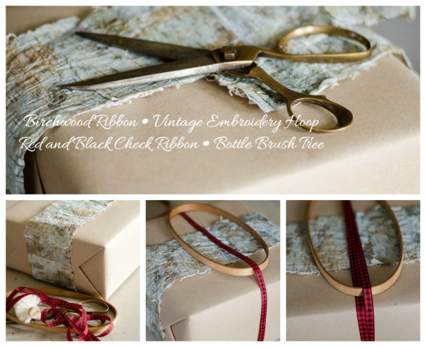 birch bark ribbon and a vintage embroidery hoop gift wrap