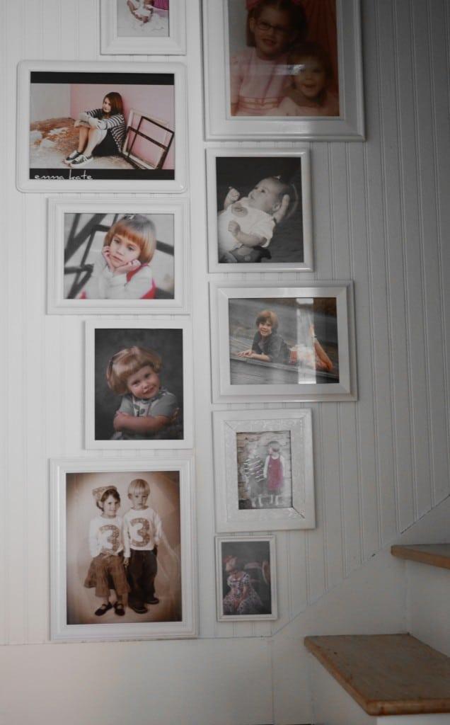 gallery wall in stairway