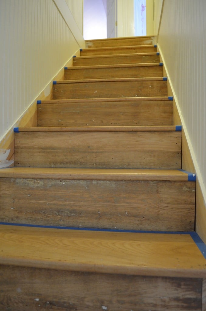 stairway torn out, refinished, and replaced