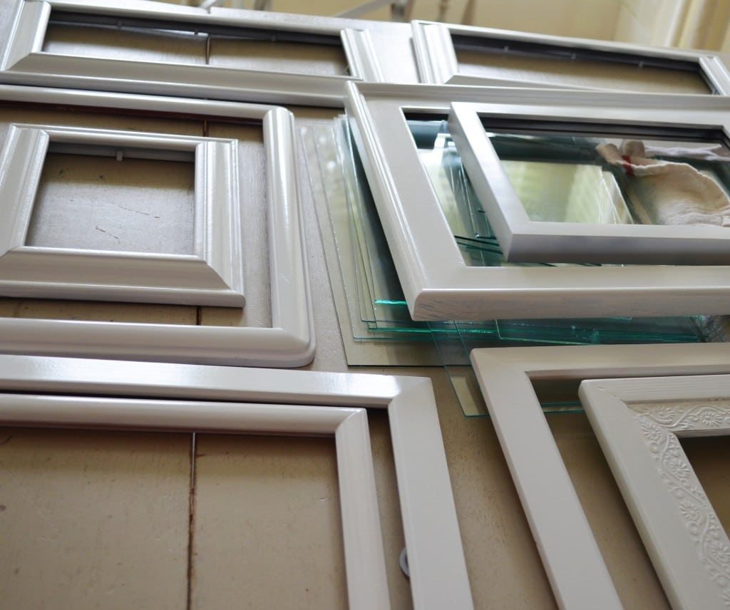 white painted frames for gallery wall